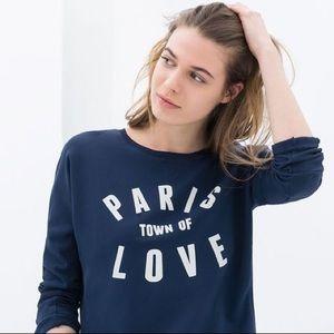 Zara Trafaluc Sweatshirt M Paris Town of Love TRF